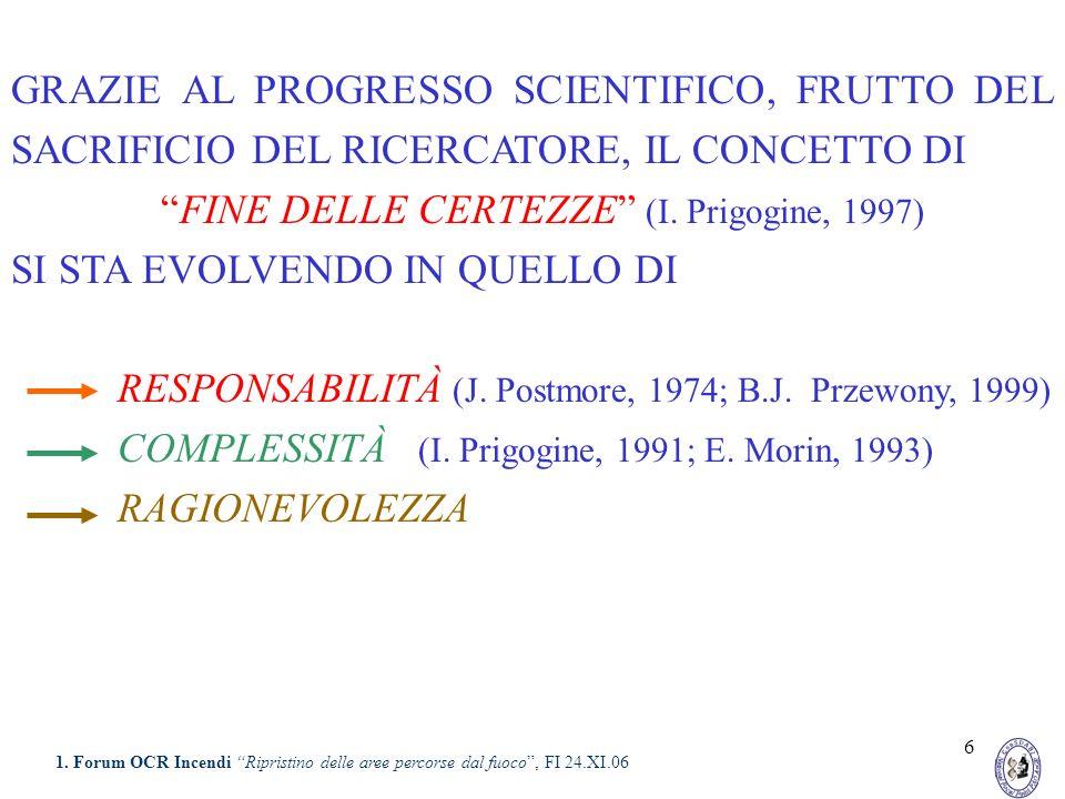 6 GRAZIE AL PROGRESSO SCIENTIFICO, FRUTTO DEL SACRIFICIO DEL RICERCATORE, IL CONCETTO DI FINE DELLE CERTEZZE (I. Prigogine, 1997) SI STA EVOLVENDO IN