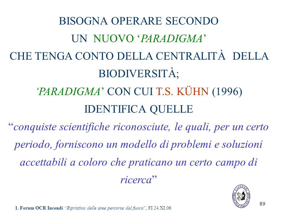 89 BISOGNA OPERARE SECONDO UN NUOVO PARADIGMA CHE TENGA CONTO DELLA CENTRALITÀ DELLA BIODIVERSITÀ; PARADIGMA CON CUI T.S. KÜHN (1996) IDENTIFICA QUELL