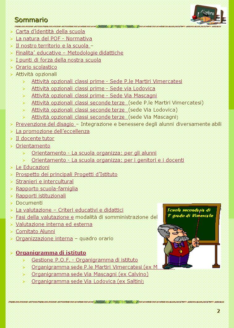 2Sommario Carta didentità della scuola La natura del POF - Normativa Il nostro territorio e la scuola – Il nostro territorio e la scuola Finalita educ