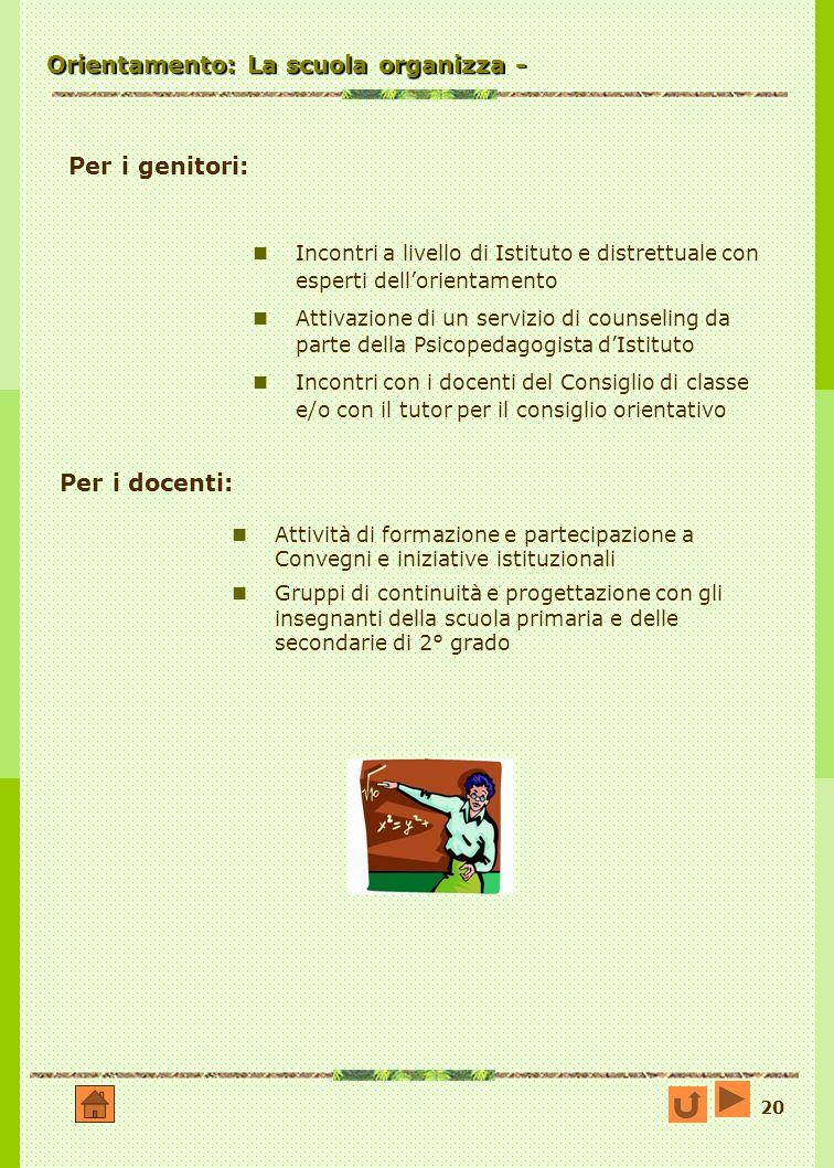 20 Orientamento: La scuola organizza - Attività di formazione e partecipazione a Convegni e iniziative istituzionali Gruppi di continuità e progettazi