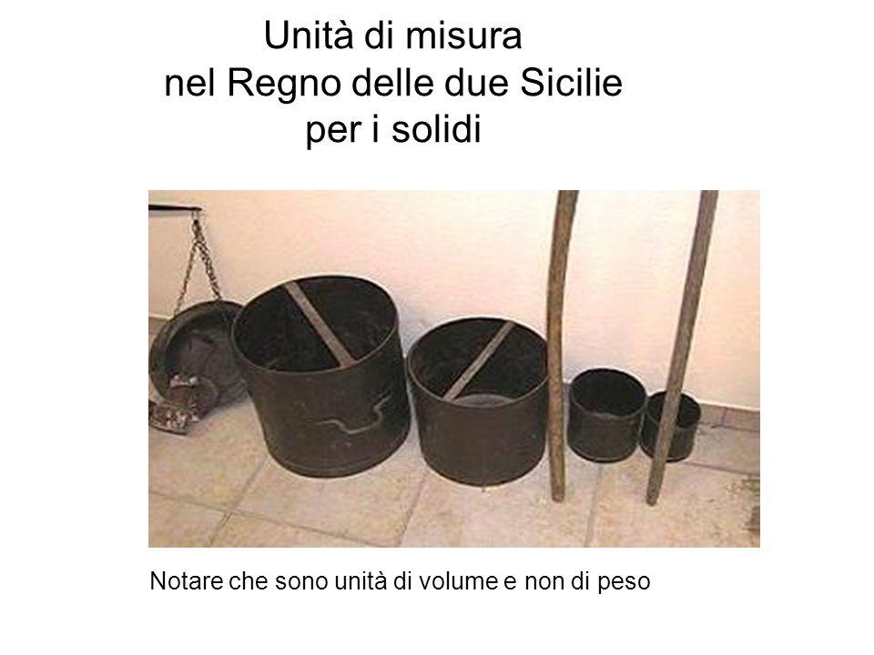 Unità di misura nel Regno delle due Sicilie per i solidi Notare che sono unità di volume e non di peso