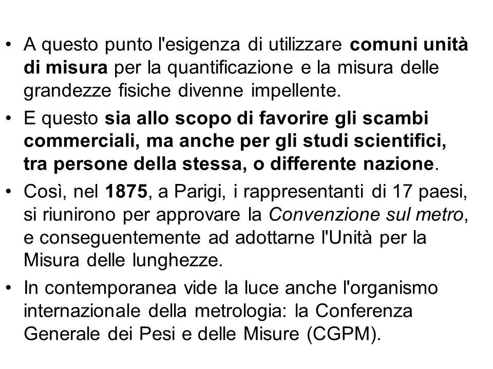 A questo punto l esigenza di utilizzare comuni unità di misura per la quantificazione e la misura delle grandezze fisiche divenne impellente.