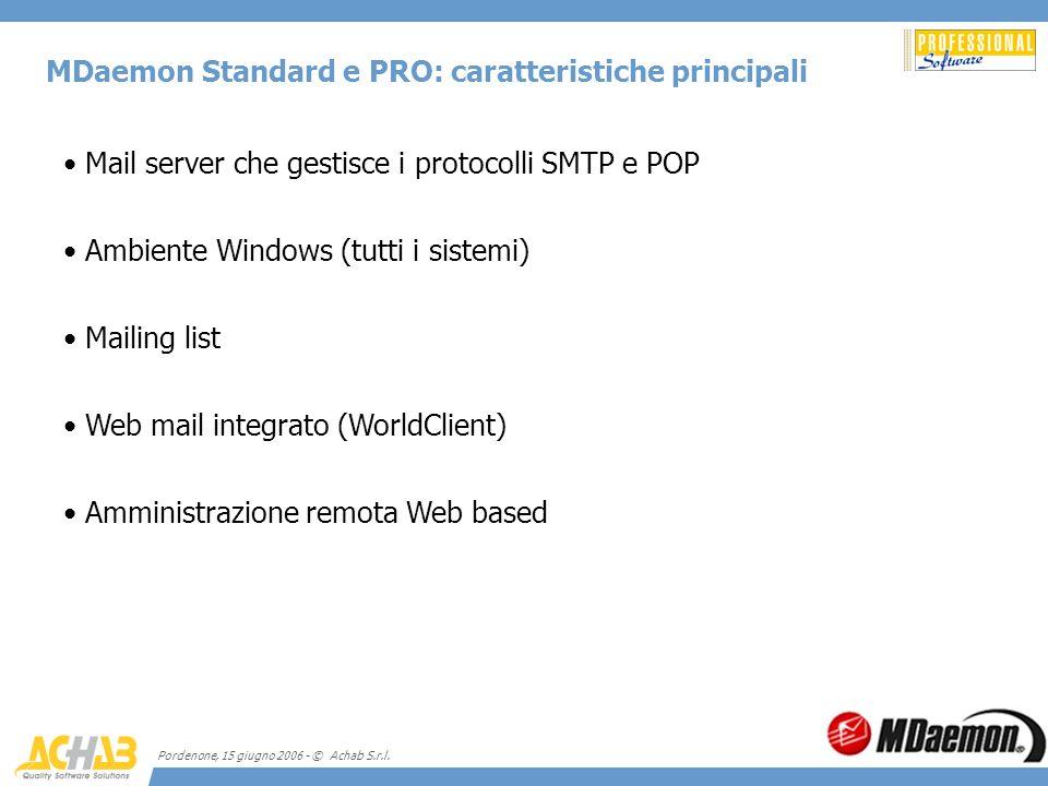 Pordenone, 15 giugno 2006 - © Achab S.r.l. MDaemon Standard e PRO: caratteristiche principali Mail server che gestisce i protocolli SMTP e POP Ambient