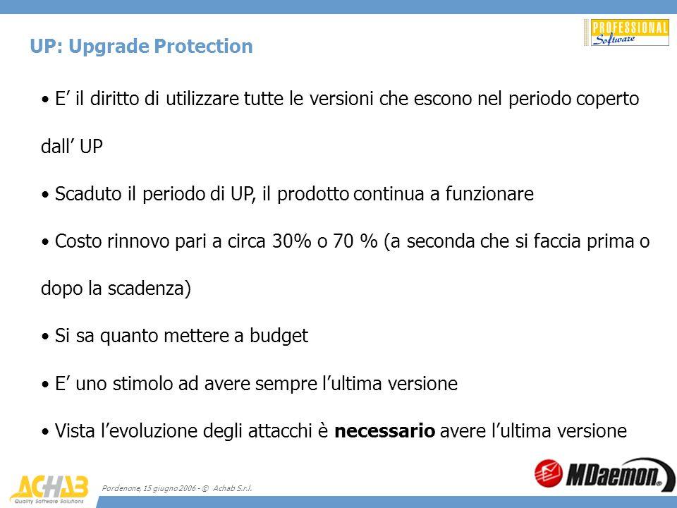 Pordenone, 15 giugno 2006 - © Achab S.r.l. UP: Upgrade Protection E il diritto di utilizzare tutte le versioni che escono nel periodo coperto dall UP