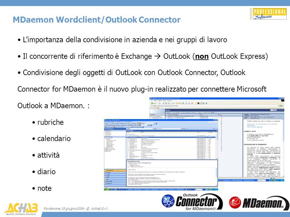 Pordenone, 15 giugno 2006 - © Achab S.r.l. MDaemon Wordclient/Outlook Connector Limportanza della condivisione in azienda e nei gruppi di lavoro Il co