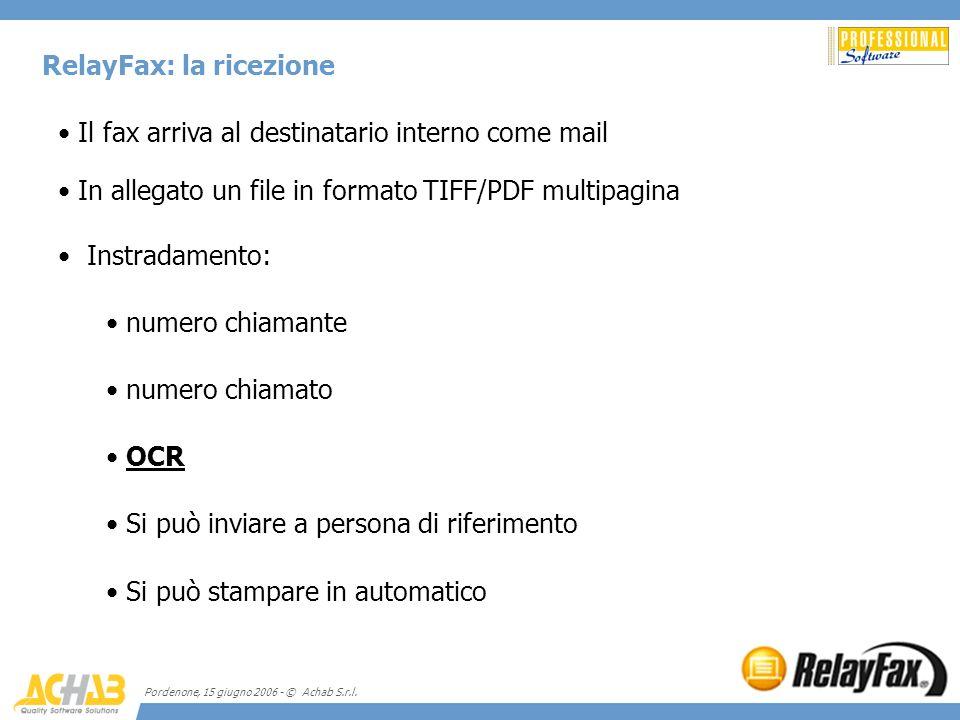 Pordenone, 15 giugno 2006 - © Achab S.r.l. RelayFax: la ricezione Il fax arriva al destinatario interno come mail In allegato un file in formato TIFF/