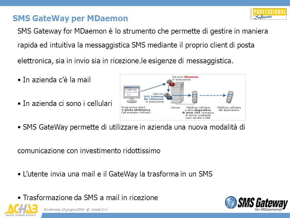 Pordenone, 15 giugno 2006 - © Achab S.r.l. SMS GateWay per MDaemon SMS Gateway for MDaemon è lo strumento che permette di gestire in maniera rapida ed