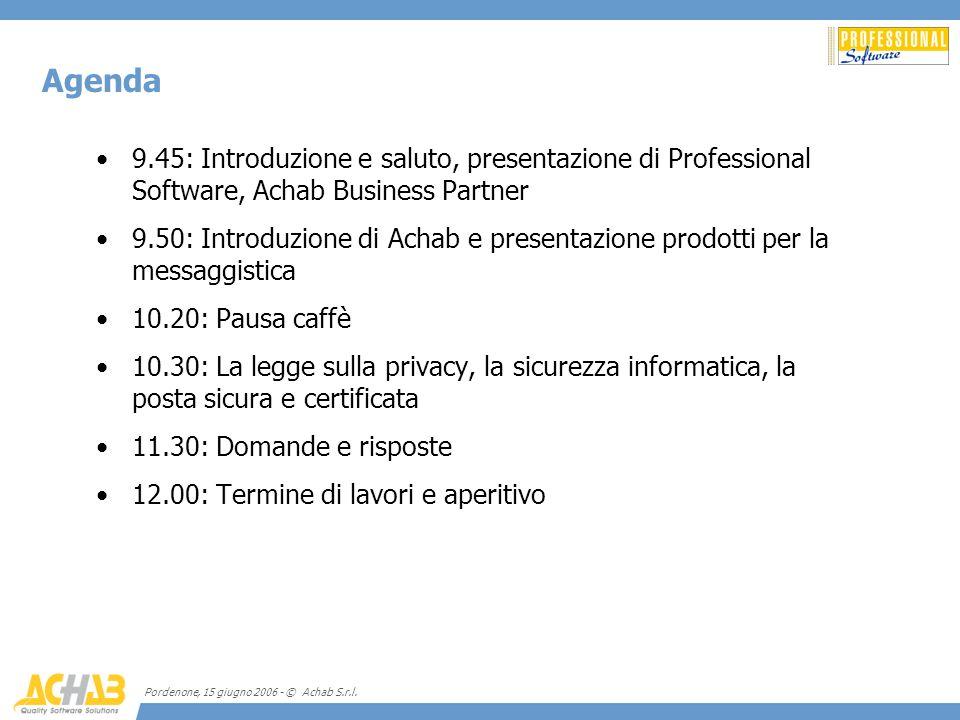 Pordenone, 15 giugno 2006 - © Achab S.r.l. 9.45: Introduzione e saluto, presentazione di Professional Software, Achab Business Partner 9.50: Introduzi