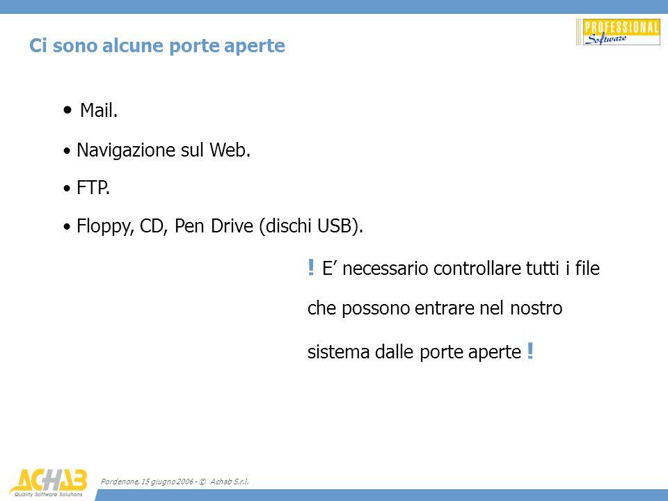 Pordenone, 15 giugno 2006 - © Achab S.r.l. Ci sono alcune porte aperte Mail. Navigazione sul Web. FTP. Floppy, CD, Pen Drive (dischi USB). ! E necessa