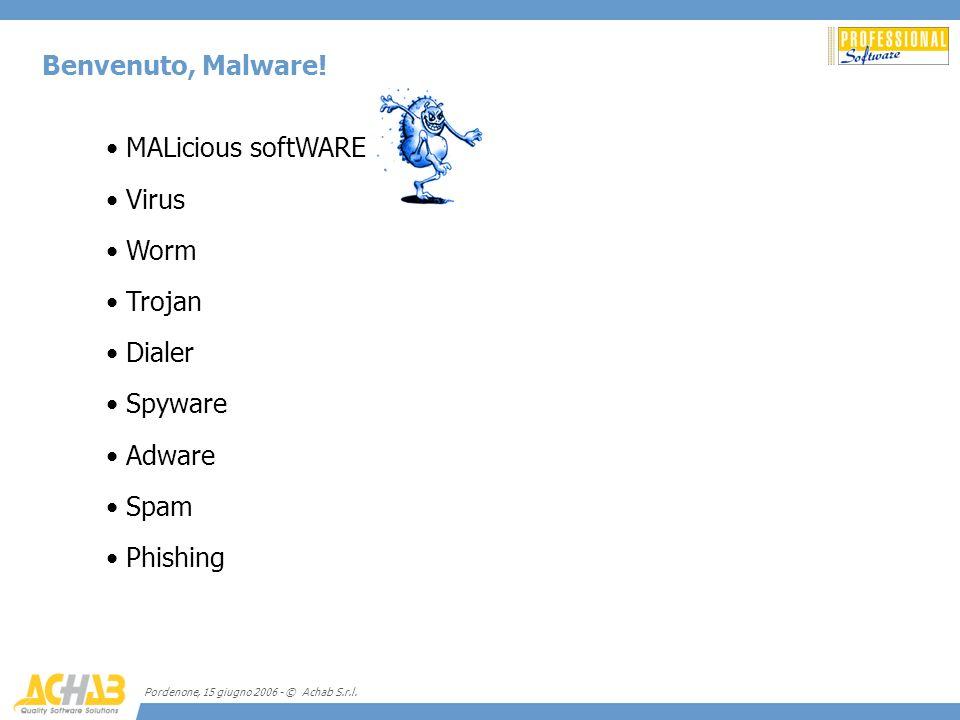 Pordenone, 15 giugno 2006 - © Achab S.r.l. Benvenuto, Malware! MALicious softWARE Virus Worm Trojan Dialer Spyware Adware Spam Phishing
