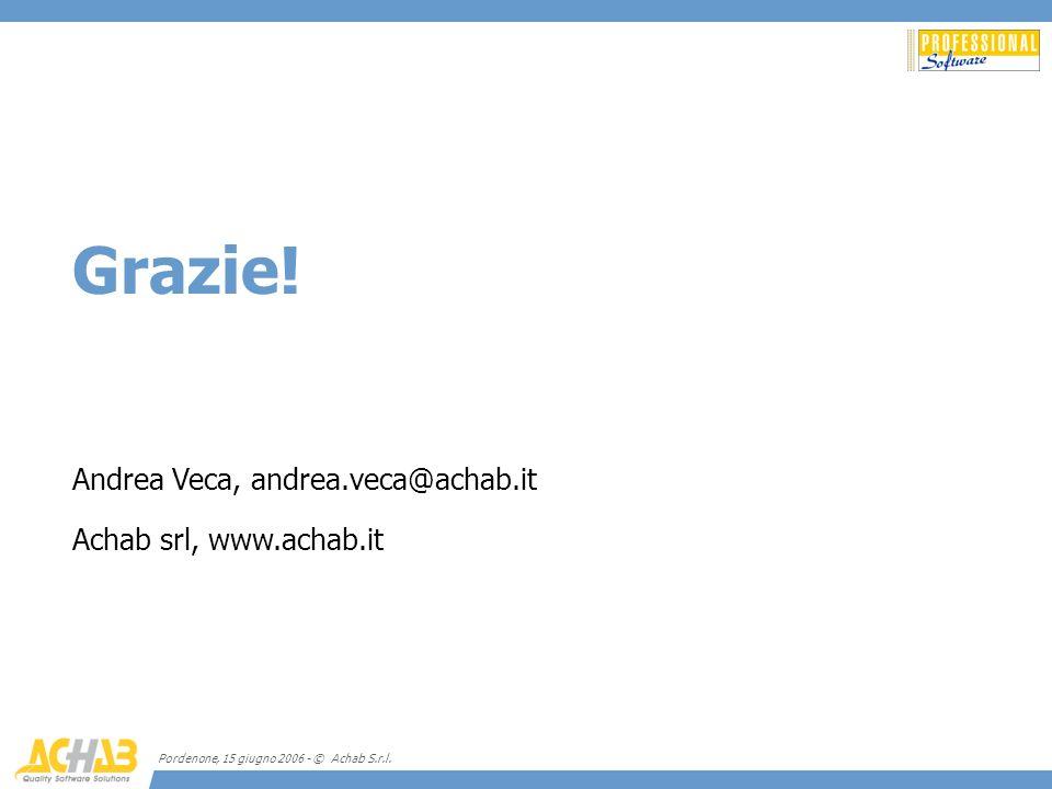 Pordenone, 15 giugno 2006 - © Achab S.r.l. Grazie! Andrea Veca, andrea.veca@achab.it Achab srl, www.achab.it