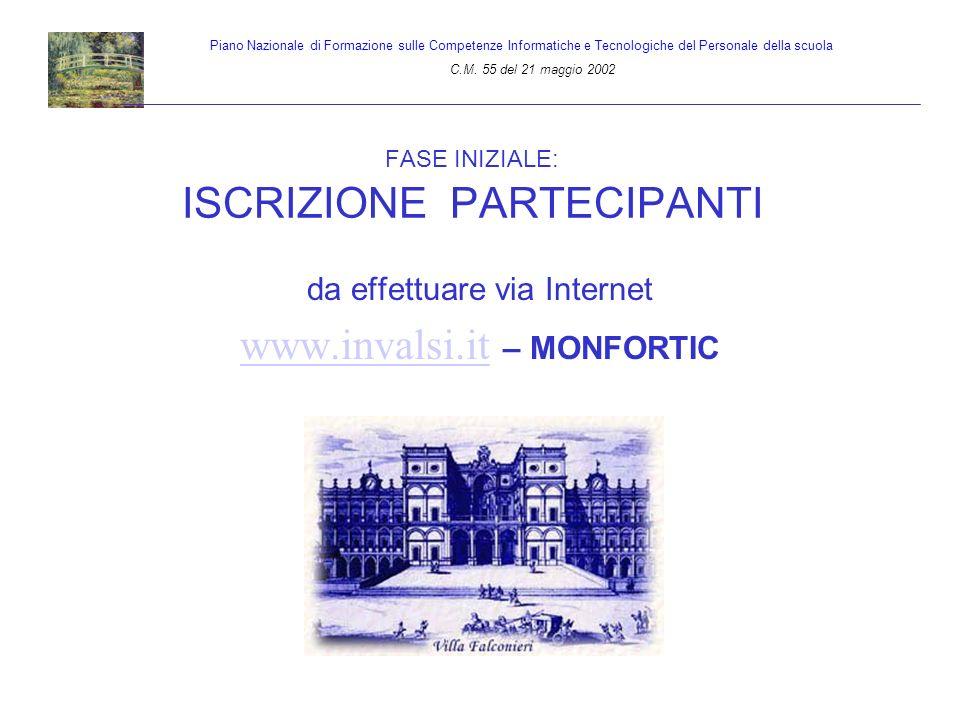 FASE INIZIALE: ISCRIZIONE PARTECIPANTI da effettuare via Internet www.invalsi.it www.invalsi.it – MONFORTIC Piano Nazionale di Formazione sulle Compet
