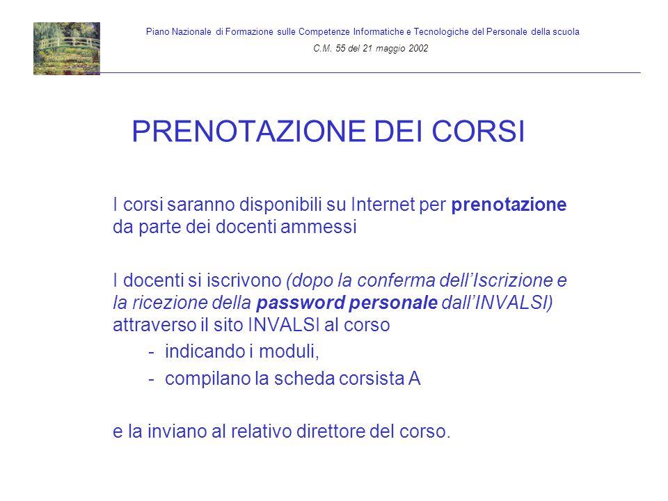 PRENOTAZIONE DEI CORSI I corsi saranno disponibili su Internet per prenotazione da parte dei docenti ammessi I docenti si iscrivono (dopo la conferma