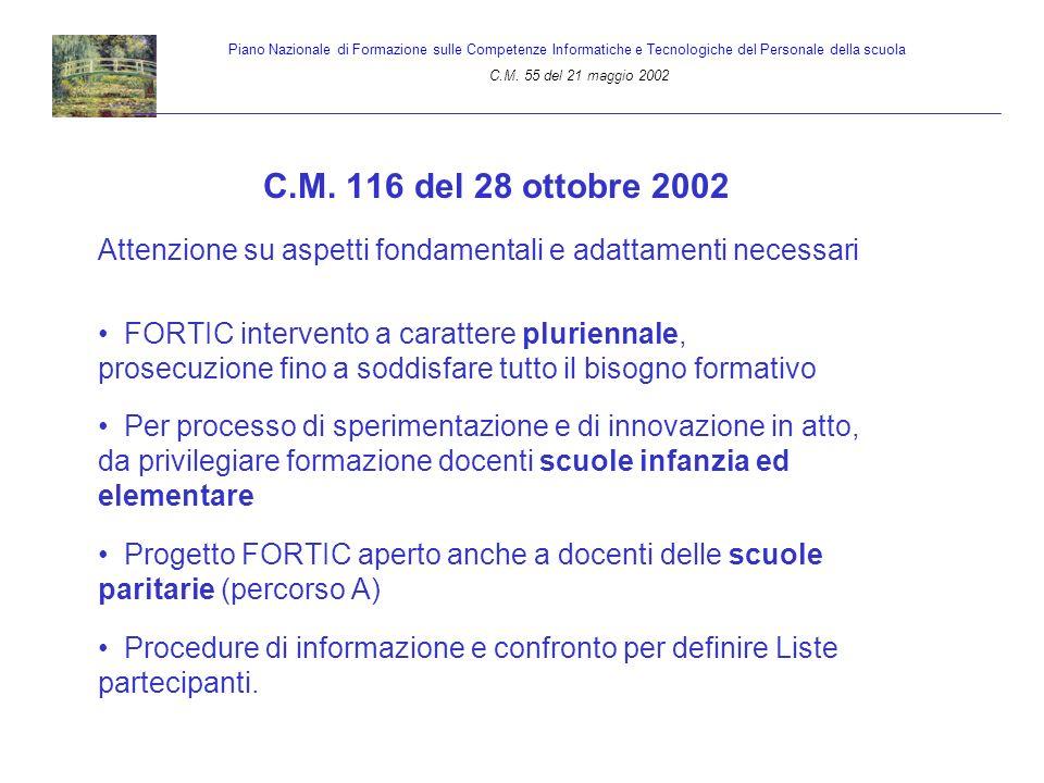 C.M. 116 del 28 ottobre 2002 Attenzione su aspetti fondamentali e adattamenti necessari FORTIC intervento a carattere pluriennale, prosecuzione fino a