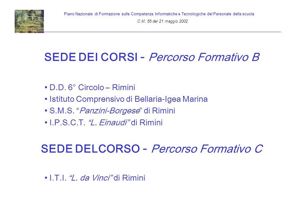 SEDE DEI CORSI - Percorso Formativo B D.D. 6° Circolo – Rimini Istituto Comprensivo di Bellaria-Igea Marina S.M.S. Panzini-Borgese di Rimini I.P.S.C.T
