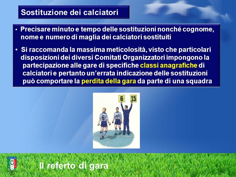 Il referto di gara Sostituzione dei calciatori Precisare minuto e tempo delle sostituzioni nonché cognome, nome e numero di maglia dei calciatori sost