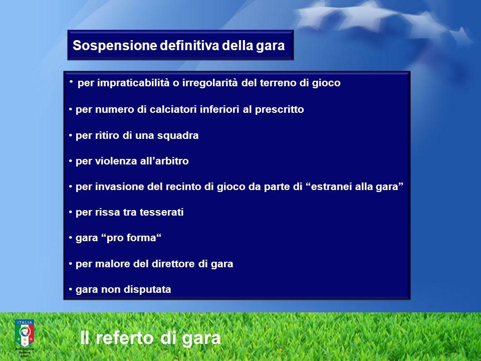 Il referto di gara Sospensione definitiva della gara per impraticabilità o irregolarità del terreno di gioco per numero di calciatori inferiori al pre