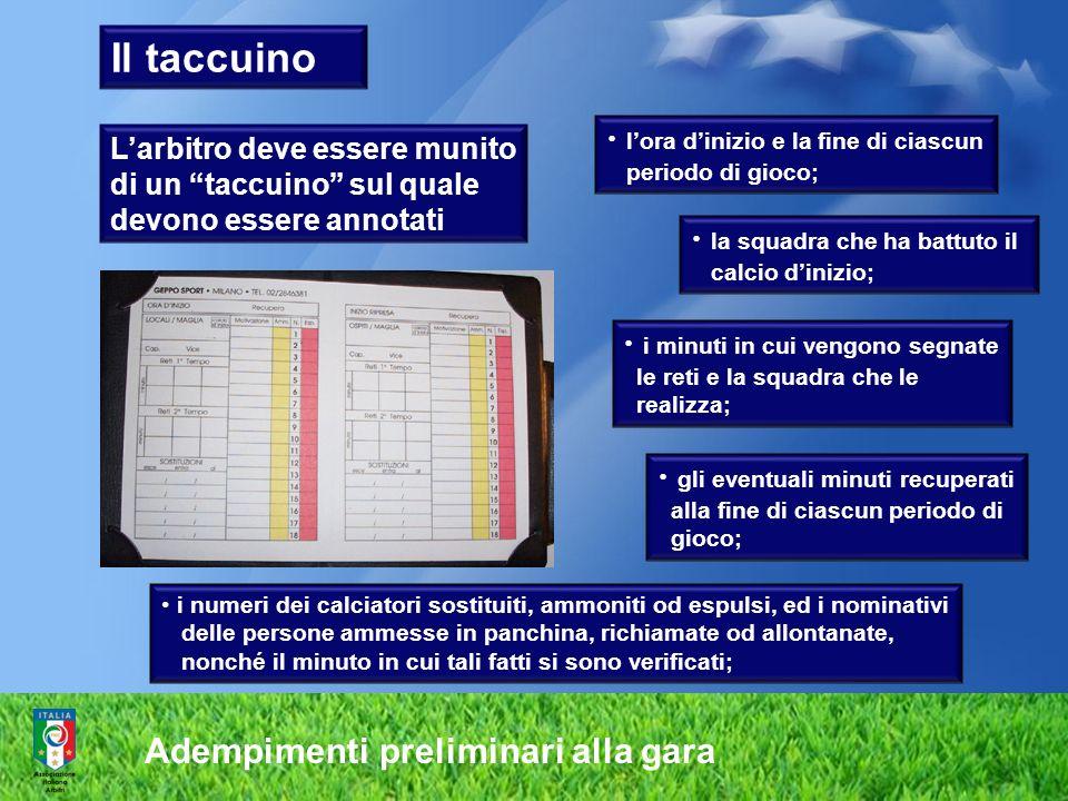 Adempimenti preliminari alla gara Larbitro deve essere munito di un taccuino sul quale devono essere annotati lora dinizio e la fine di ciascun period