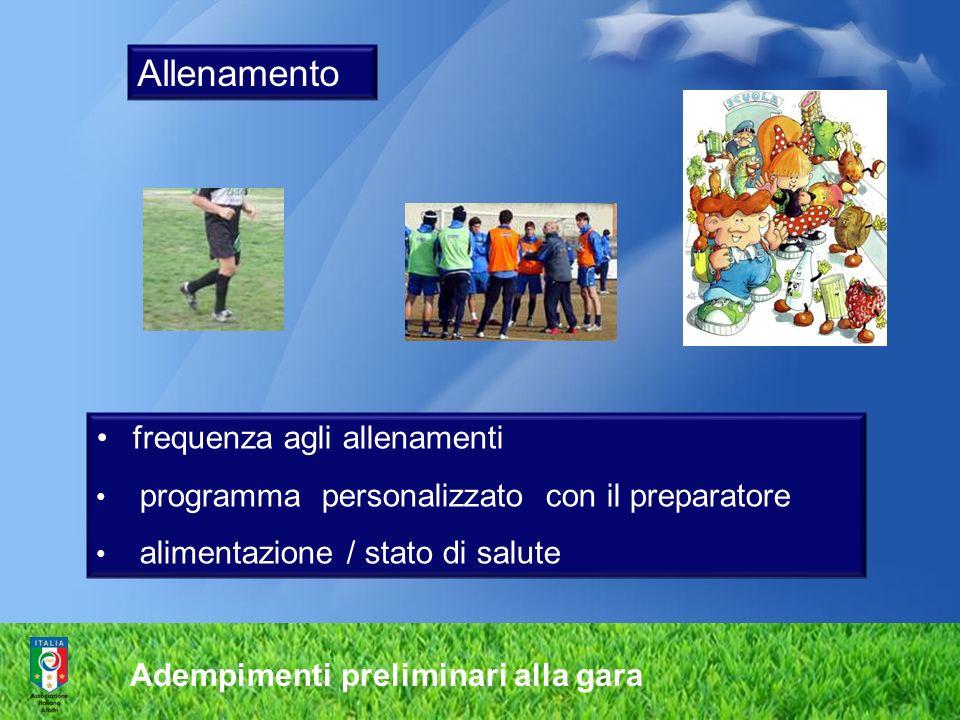 Adempimenti preliminari alla gara Allenamento frequenza agli allenamenti programma personalizzato con il preparatore alimentazione / stato di salute