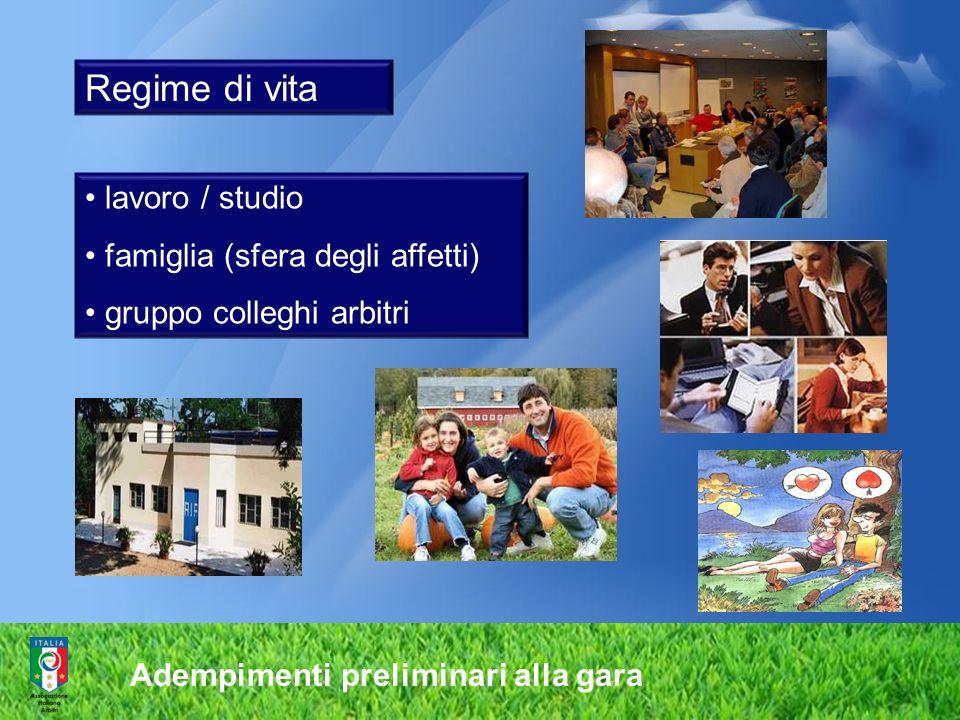 Adempimenti preliminari alla gara Regime di vita lavoro / studio famiglia (sfera degli affetti) gruppo colleghi arbitri