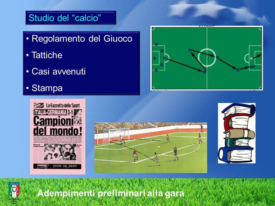 Adempimenti preliminari alla gara Studio del calcio Regolamento del Giuoco Tattiche Casi avvenuti Stampa