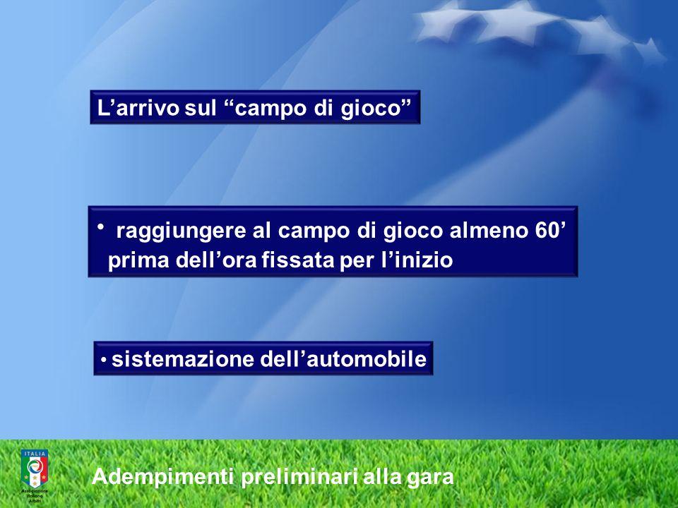 Adempimenti preliminari alla gara Larrivo sul campo di gioco raggiungere al campo di gioco almeno 60 prima dellora fissata per linizio sistemazione de