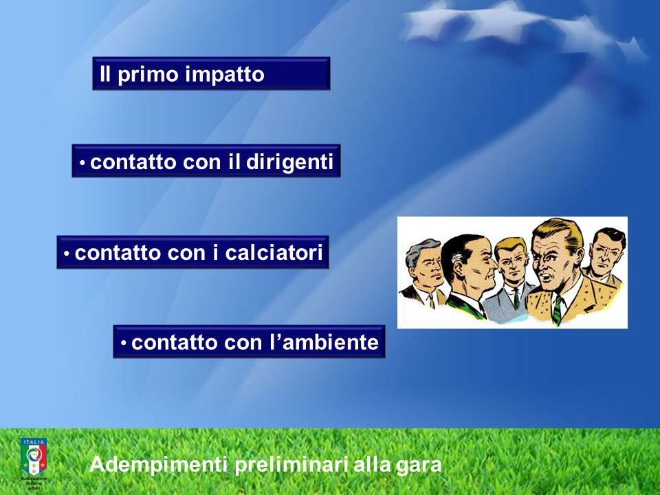 Adempimenti preliminari alla gara Il primo impatto contatto con il dirigenti contatto con i calciatori contatto con lambiente