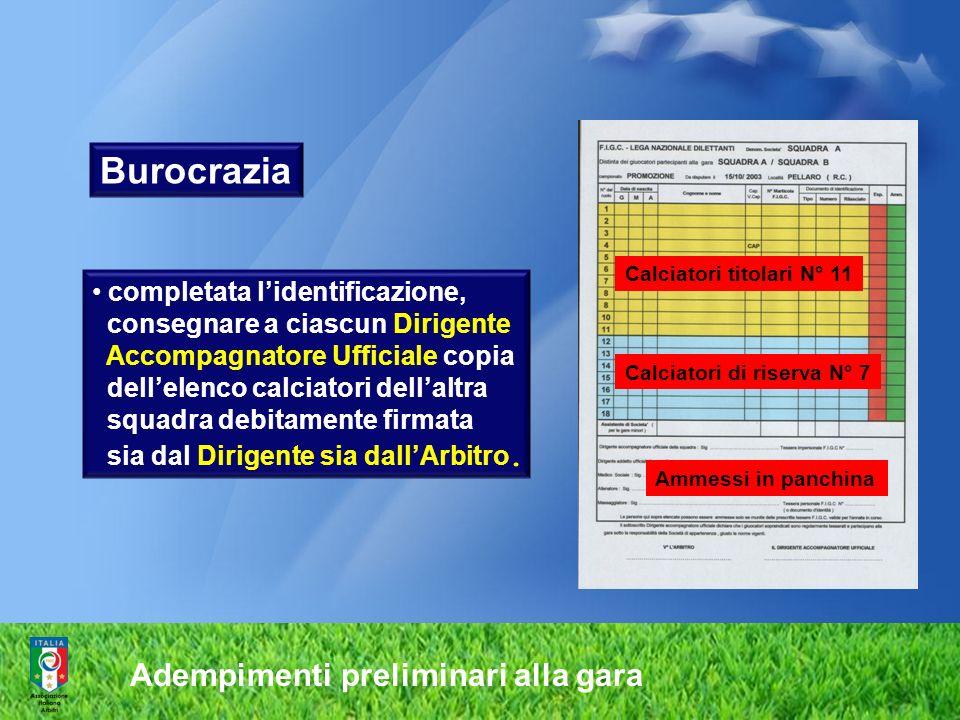Adempimenti preliminari alla gara Calciatori titolari N° 11 Calciatori di riserva N° 7 Ammessi in panchina completata lidentificazione, consegnare a c