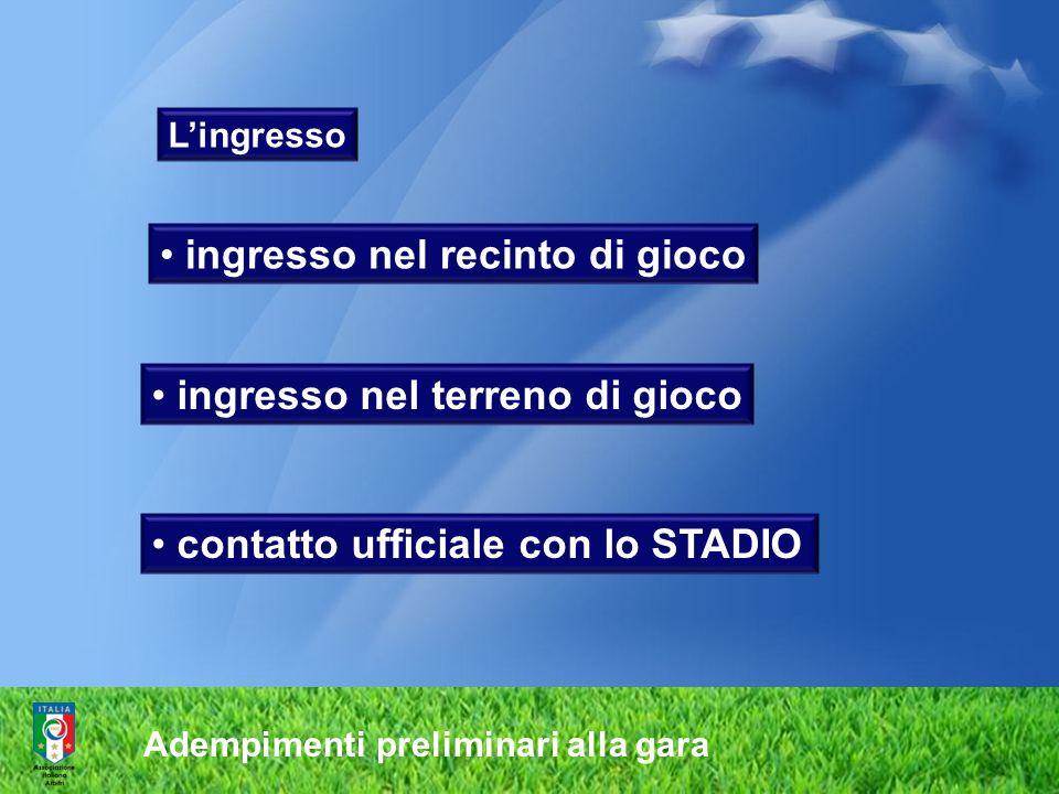 Adempimenti preliminari alla gara Lingresso ingresso nel recinto di gioco ingresso nel terreno di gioco contatto ufficiale con lo STADIO