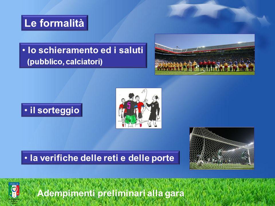 Adempimenti preliminari alla gara lo schieramento ed i saluti (pubblico, calciatori) il sorteggio la verifiche delle reti e delle porte Le formalità