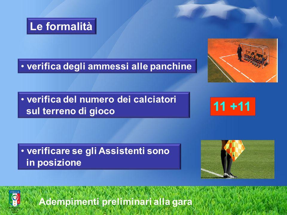 Adempimenti preliminari alla gara verificare se gli Assistenti sono in posizione verifica degli ammessi alle panchine verifica del numero dei calciato