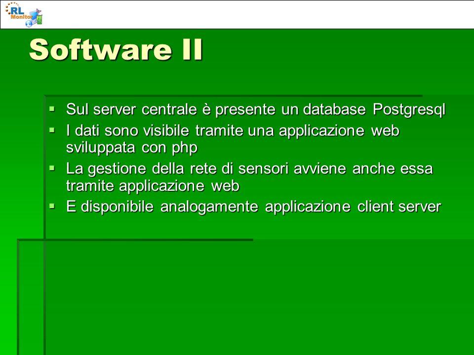 Software II Sul server centrale è presente un database Postgresql Sul server centrale è presente un database Postgresql I dati sono visibile tramite u