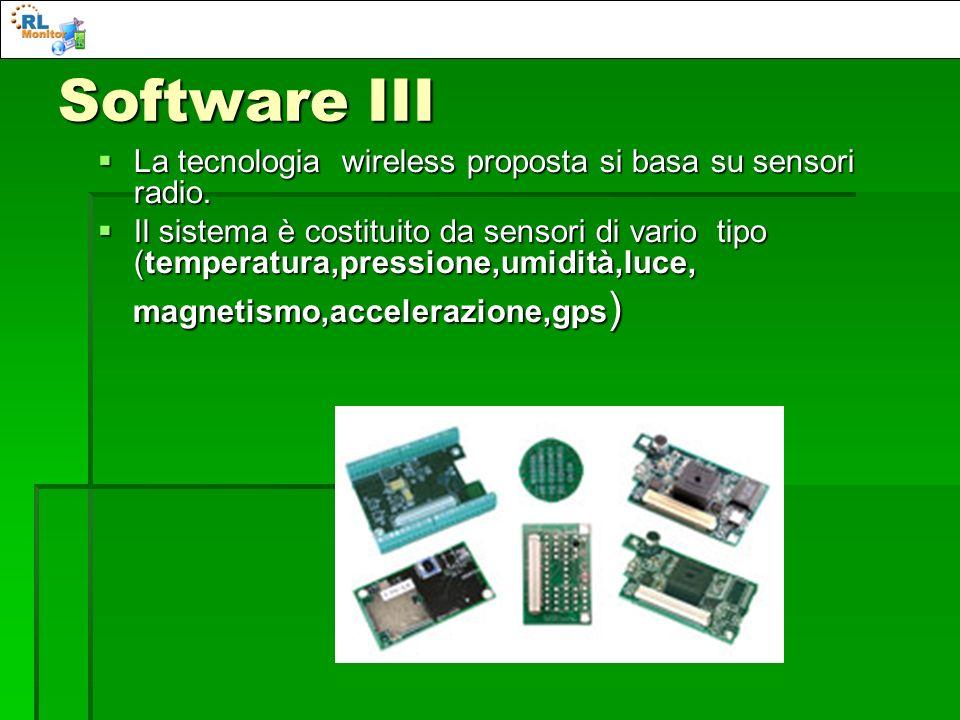 Software III La tecnologia wireless proposta si basa su sensori radio. La tecnologia wireless proposta si basa su sensori radio. Il sistema è costitui