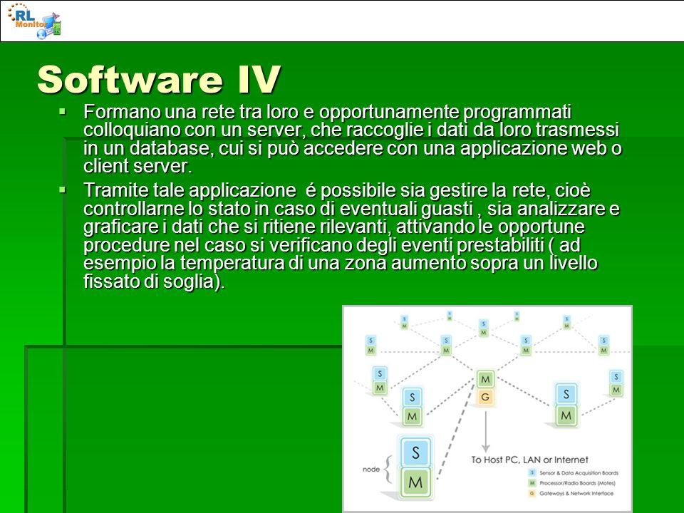 Software IV Formano una rete tra loro e opportunamente programmati colloquiano con un server, che raccoglie i dati da loro trasmessi in un database, c