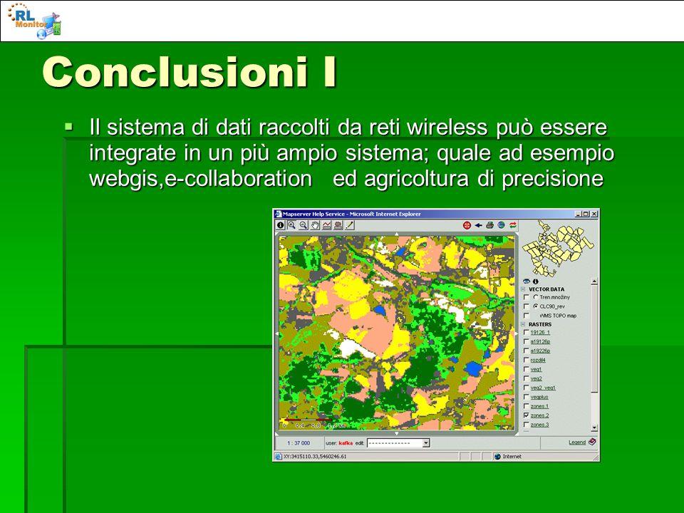 Conclusioni I Il sistema di dati raccolti da reti wireless può essere integrate in un più ampio sistema; quale ad esempio webgis,e-collaboration ed ag