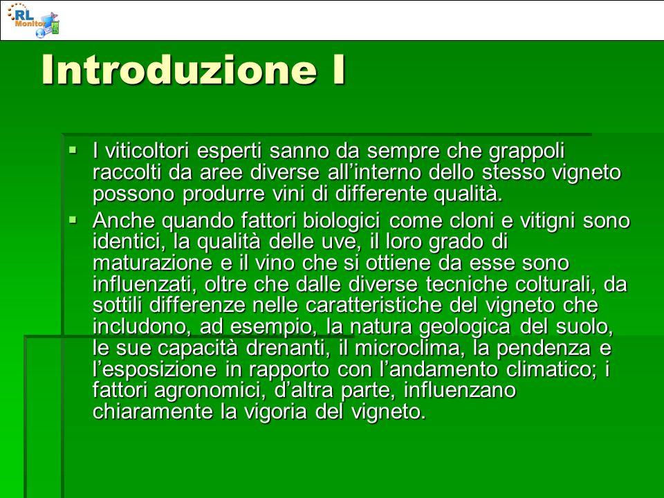 Introduzione II I grappoli sono quindi molto sensibili allambiente circostante e, in modo particolare, al livello di insolazione a cui sono sottoposti.