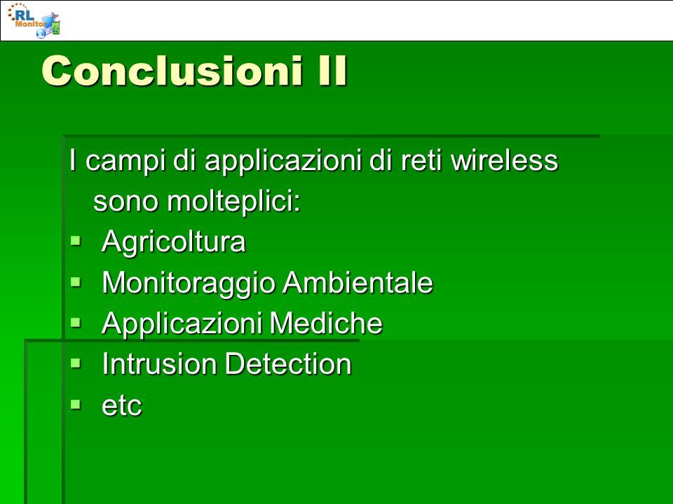 Conclusioni II I campi di applicazioni di reti wireless sono molteplici: sono molteplici: Agricoltura Agricoltura Monitoraggio Ambientale Monitoraggio