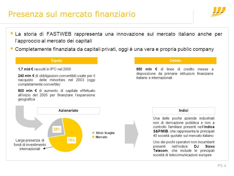 PG. 4 Silvio Scaglia Mercato Presenza sul mercato finanziario La storia di FASTWEB rappresenta una innovazione sul mercato italiano anche per lapprocc
