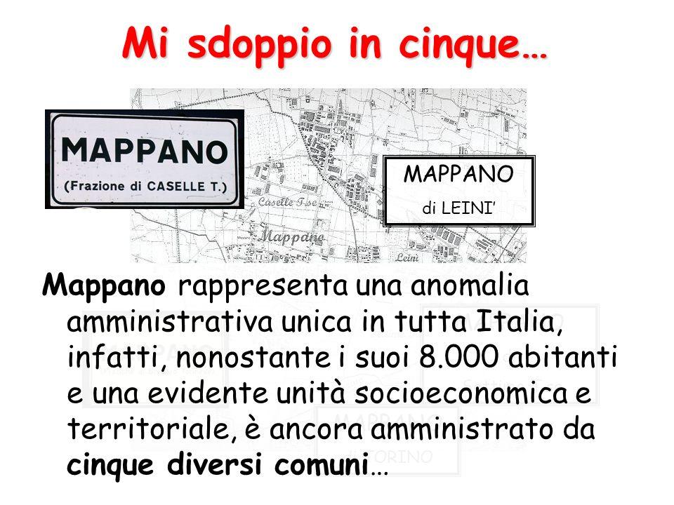 Mi sdoppio in cinque… MAPPANO di Settimo T.se MAPPANO di TORINO MAPPANO di LEINI Mappano rappresenta una anomalia amministrativa unica in tutta Italia