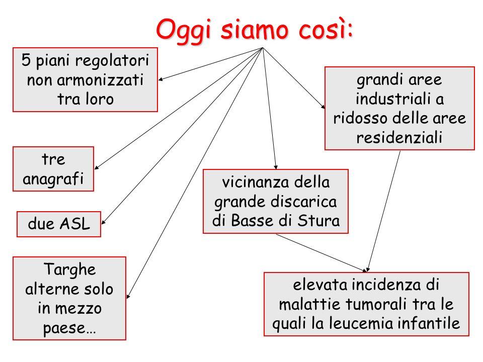 5 piani regolatori non armonizzati tra loro grandi aree industriali a ridosso delle aree residenziali tre anagrafi due ASL vicinanza della grande disc