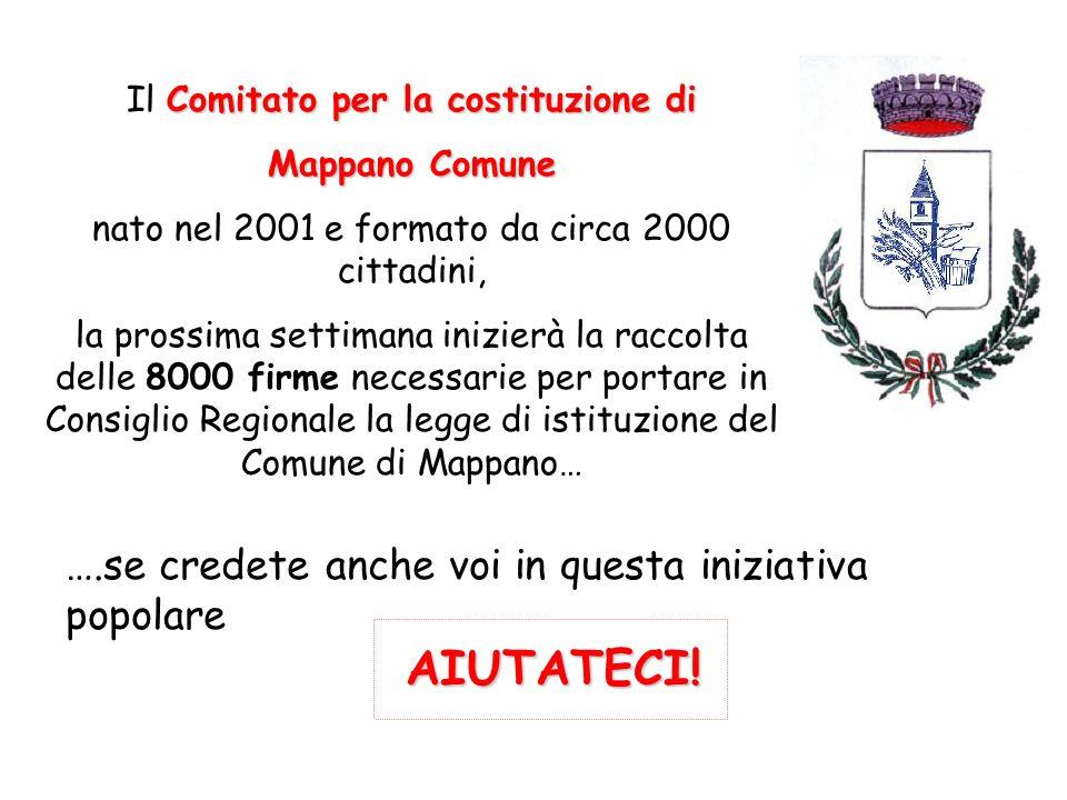 Il C CC Comitato per la costituzione di Mappano Comune nato nel 2001 e formato da circa 2000 cittadini, la prossima settimana inizierà la raccolta del