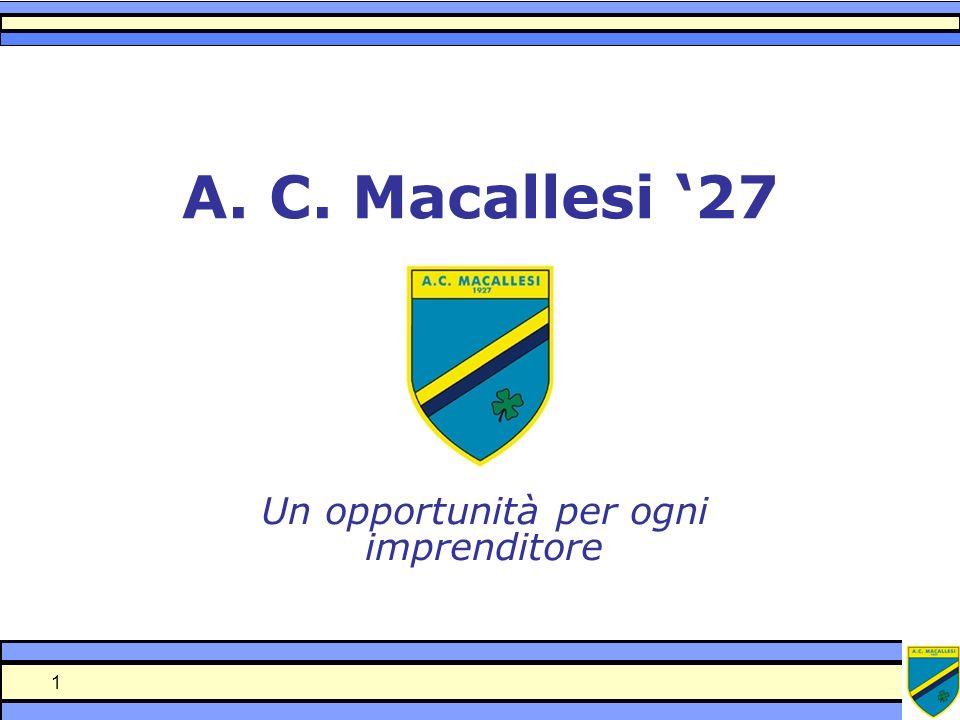 1 A. C. Macallesi 27 Un opportunità per ogni imprenditore