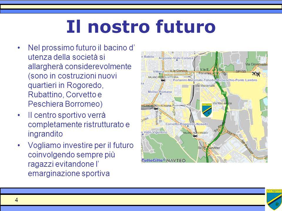 4 Il nostro futuro Nel prossimo futuro il bacino d utenza della società si allargherà considerevolmente (sono in costruzioni nuovi quartieri in Rogore