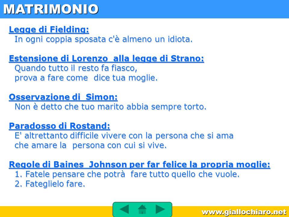 www.giallochiaro.net Legge di Fielding: In ogni coppia sposata c'è almeno un idiota. Estensione di Lorenzo alla legge di Strano: Quando tutto il resto