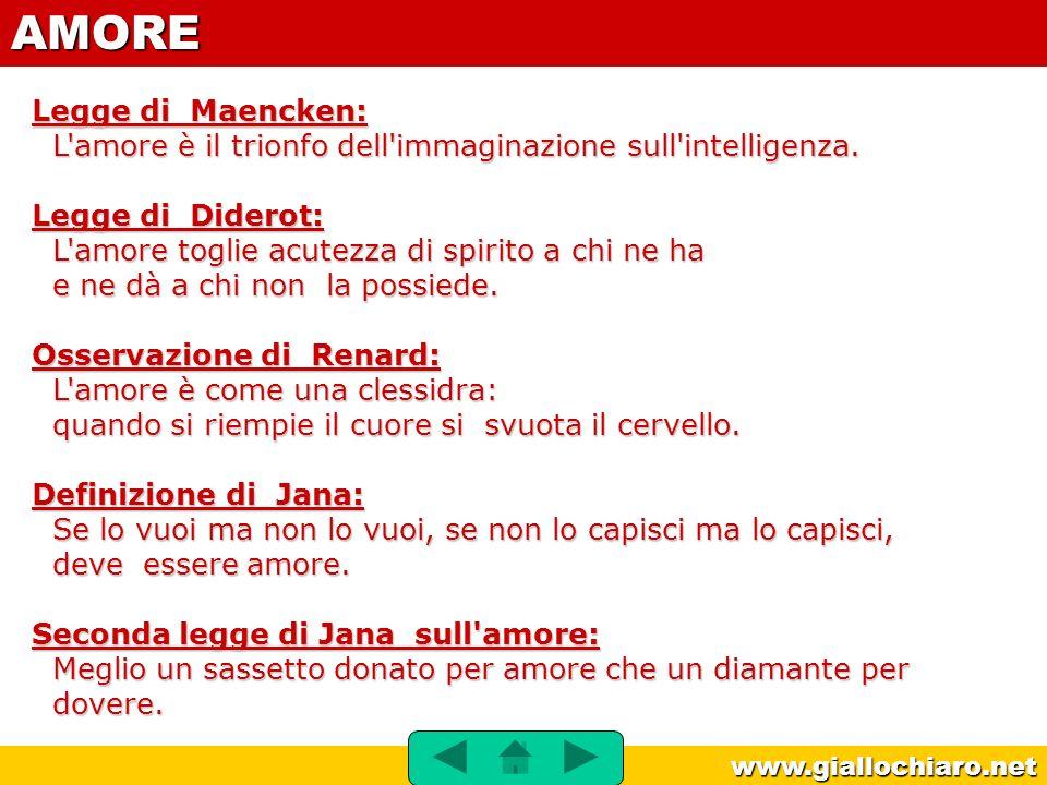 www.giallochiaro.net Legge di Maencken: L'amore è il trionfo dell'immaginazione sull'intelligenza. Legge di Diderot: L'amore toglie acutezza di spirit