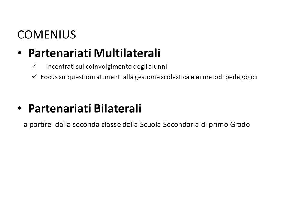 COMENIUS Partenariati Multilaterali Incentrati sul coinvolgimento degli alunni Focus su questioni attinenti alla gestione scolastica e ai metodi pedagogici Partenariati Bilaterali a partire dalla seconda classe della Scuola Secondaria di primo Grado