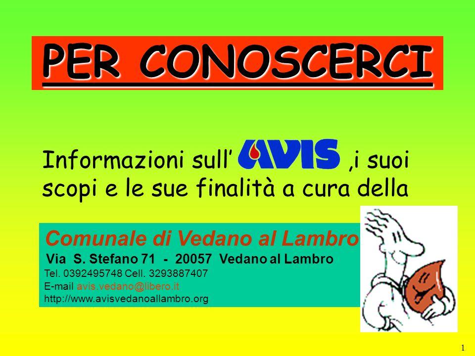 2 INDICE Cenni storici sulla trasfusione Il dono del sangue AVIS in Italia AVIS a Vedano al Lambro AVIS Cosa è e cosa fa.
