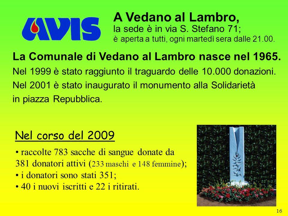 16 A Vedano al Lambro, la sede è in via S. Stefano 71; è aperta a tutti, ogni martedì sera dalle 21.00. La Comunale di Vedano al Lambro nasce nel 1965
