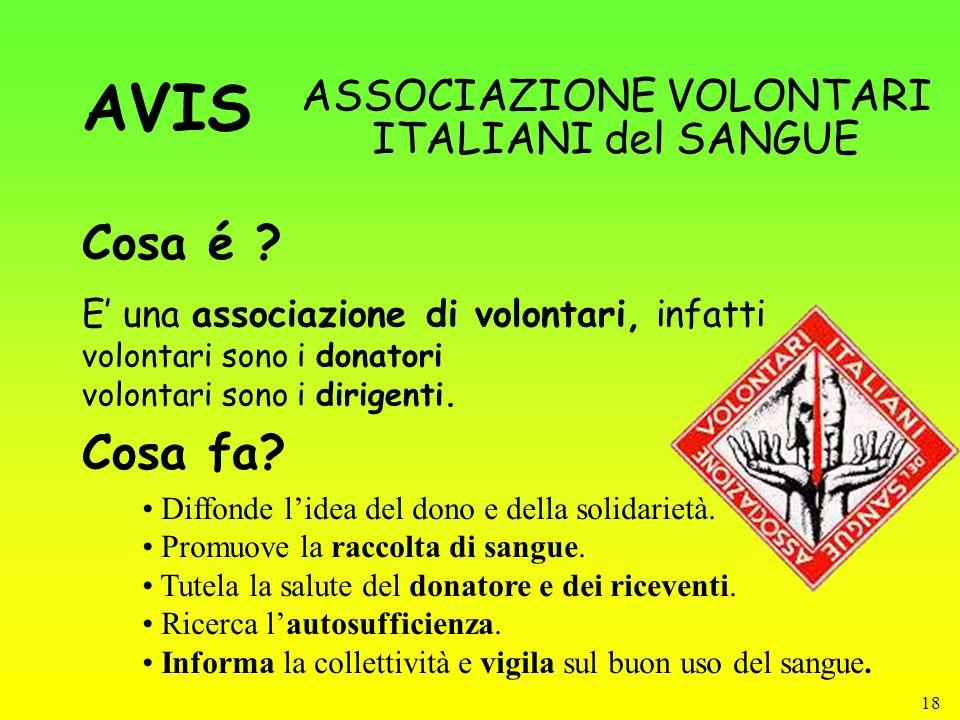 18 Cosa é ? ASSOCIAZIONE VOLONTARI ITALIANI del SANGUE Cosa fa? Diffonde lidea del dono e della solidarietà. Promuove la raccolta di sangue. Tutela la