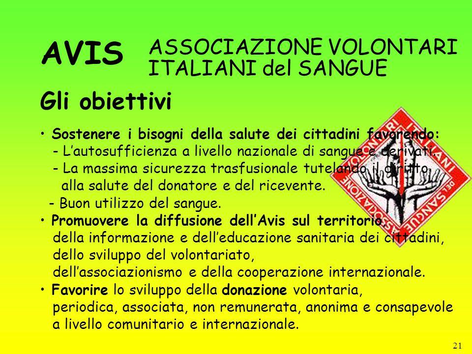 21 Gli obiettivi ASSOCIAZIONE VOLONTARI ITALIANI del SANGUE Sostenere i bisogni della salute dei cittadini favorendo: - Lautosufficienza a livello naz